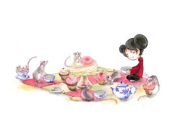Little girl having a rat tea party - little print