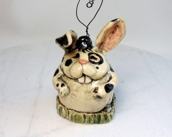 Spotted Rabbit Ornament - Pottery Decoration - Hand Built Pottery - Bunny Ornament - Pottery Animal - Lop Eared Rabbit - Small Pet Figurine