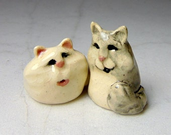 Kitten Miniature Figurines - Terrarium Cat Figurines - Pottery Cats - Ceramic Figurines - White Long Hair Cat - Soft Gray Cat - set of 2
