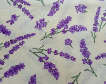 Lavender Bliss 100% cotton Sewing Fabric by Andover Fabric, Home Decor, Quilting Fabric, By The Yard, Lavender On Pastel Yellow Background