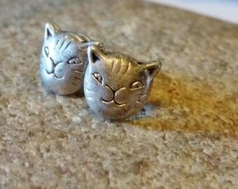Silver Cat Face Stud Earrings, Animal Jewelry, Cat Lover Cat Earrings