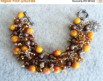 BLACK FRIDAY SALE Charm Bracelet, Cha Cha Bracelet, Chunky Bracelet, Amber and Brown, Chunky Jewelry, Boho Bracelet, Boho Jewelry - Golden S