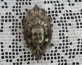 Antique French Victorian Chatelaine Clip Silver Plated Jester Joker Photography Prop