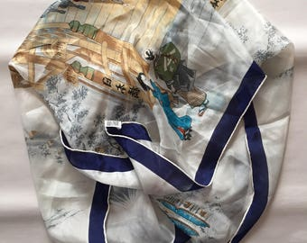 1950s japanese silk scarf | large Japan print hand rolled silk scarf