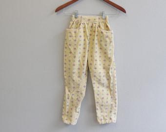Vintage Yellow Floral Corduroy Girls Pants Size 6 By Osh Kosh