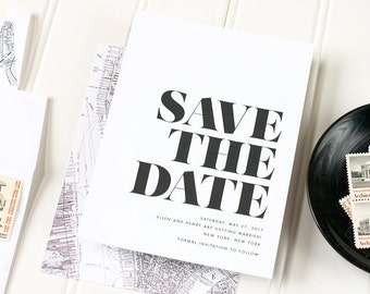 Black and White Save the Date, New York City Wedding, Modern Wedding Save the Date, Classic Save the Date, Flat Printed - Soho - SAMPLE