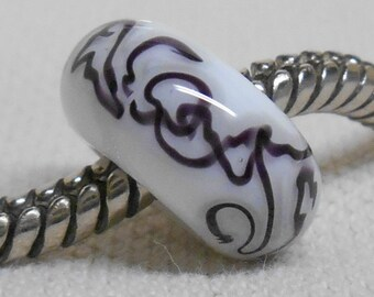 Large Hole European Style White with Black Squiggles Glass Lampwork Bead