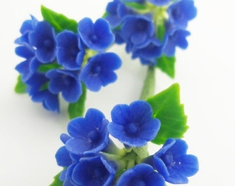 Miniature Polymer Clay Flowers Supplies for Dollhouse Deep Blue Hydrangea 3 bunches