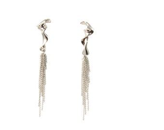 Impulse, 14kt White Gold Sculptural Earrings by Ashley Childs