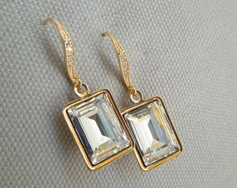 Swarovski Crystal Bridal Earrings Gold Rhinestone Earrings Gold Bridal Earrings Statement Bridal Earrings Crystal teardrop Earrings ARIA