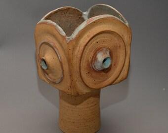 Important Mid Century Santa Fe Artist Iris Barna Pottery Vase Geometric Square Studio Potter German Influence
