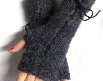 Fingerless Gloves Grey Wrist Warmers with Angora Wool Mohair Christmas fashion Warm Soft