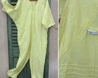 1980s French VTG oversized yellow cotton jumpsuit/  Pantsuit sz M/ L