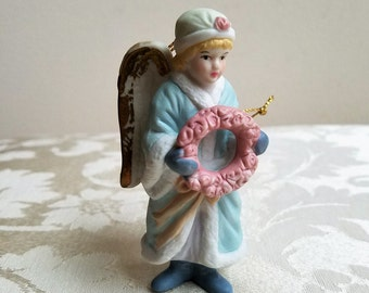 Vintage Angel Christmas Ornament Porcelain Bisque Figurine Statue, Victorian Blonde Hair Girl, Pastel Blue Pink White With Gold Edged Wings