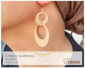 Circles earrings, gold filled, elegant earrings, free shipping