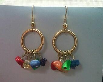 Dangle Chakra Light Weight Earrings, Spiritual Chakra Dangles, Long Boho Hippie Gipsy Jewelry, Gifts for Her, Rainbow Jewelry Earrings