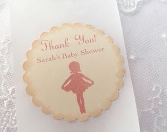Pink Ballerina Stickers Girl Baby Shower Birthday Envelope Seals Ivory/Blush Set of 10