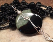 "RESERVED for ""P"" long beautiful necklace with wire wrapped stunning stone."