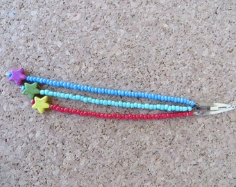 Hand Beaded Triple Strand Hair Clip With Seed Beads And Stars