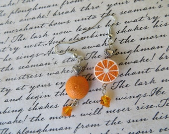 Orange Love Clay Bead And Crystal Drop Earrings