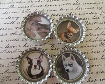 Dogs I Bottle Caps Magnets Or Pins Set