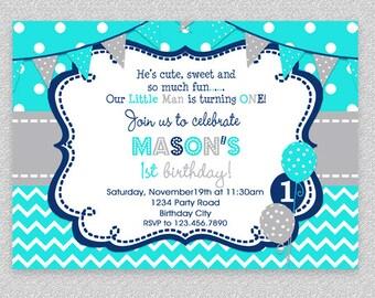 Boys Birthday Invitation , Boys Party Invitation , Turquoise Grey Navy , Boys 1st Birthday Invitation , Printed Invitation, Printable Invite