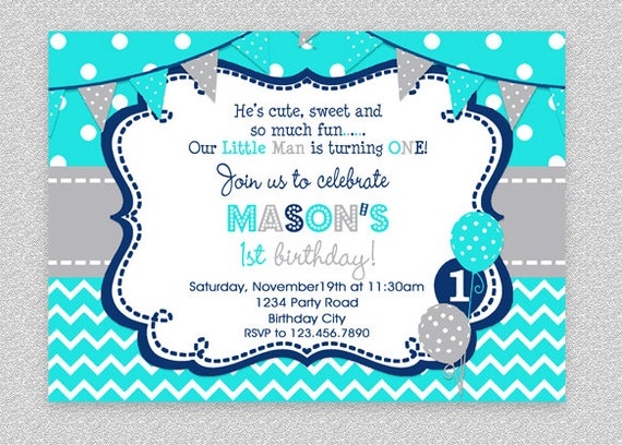 Boys birthday invitation boys party invitation turquoise grey il570xn filmwisefo