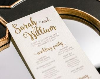 "Gold Wedding Program, Ceremony Program, Special Event Programs, Calligraphy Program, Fun Event - ""Calligraphy Chic"" Flat Program - DEPOSIT"