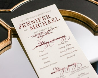 "Red and Gold Wedding Ceremony Programs, Special Event Program, Indian Wedding Stationery, Formal - ""Classic Elegance"" Flat Program - DEPOSIT"