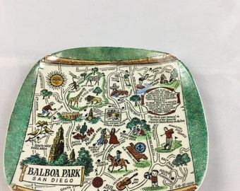 Vintage Royal Pottery Collectors Plate - Balboa Park, San Diego (Green)