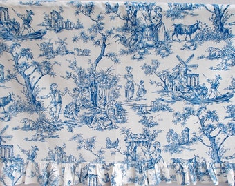"Small Vintage Toile de Jouy Curtain. Blue & White Made in Paris Toile ""NORMANDIE"" Exclusive Grand Teint PARIS 1950's     (f18)"