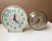 Turquoise Blue Westclox and Gold Glow in the Dark Wind-up Westclox 2 clocks@