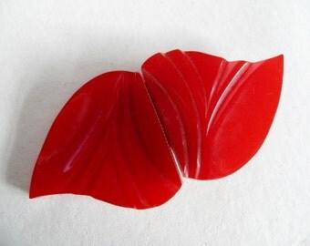 Cherry Red Bakelite Art Deco Buckle or Clasp