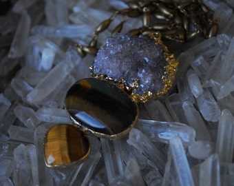 THE COVEN NECKLACE /// Electroformed Gemstone Statement Necklace