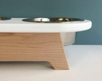 4 inch high elevated dog feeder - raised dog feeder - modern minimal dog feeder - feeding stand