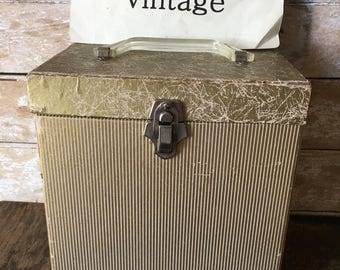 Vintage Record Case Tan 1950's or 60s