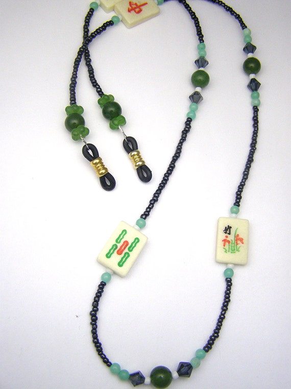 jade green mahjong eyeglass leash