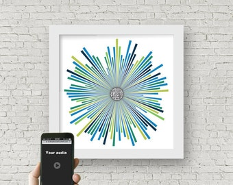 Personalized QR code sound wave art, custom sound wave print,  voice art, song Art, audio art, tech gift for him, father's day gift