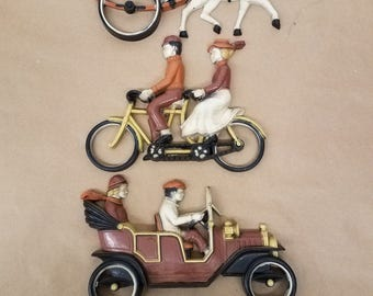 Vintage Set of 3 Homco 1975 Car Wall Hanging Plaques