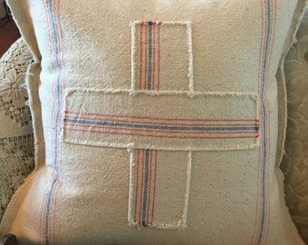 Grain Sack Pillow Cover  Cross by Gathered Comforts