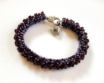Purple Bead Stitched Bracelet Elegant Jewelry Ready to Ship Plum