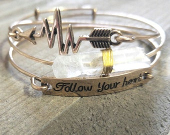 Gold Bangle Set Gold Stacking Bangles Bangle Bracelet Set Quote Bracelet Follow Your Heart Bracelet Quartz Bracelet Heartbeat Bracelets