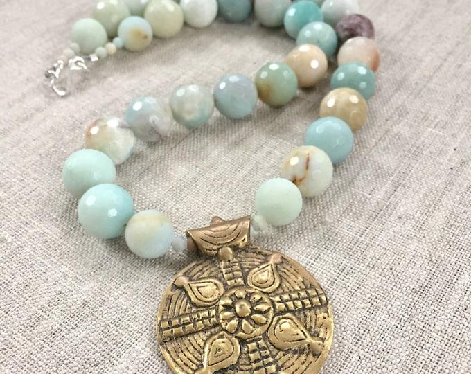 Amazonite Beaded Necklace with Brass Pendant
