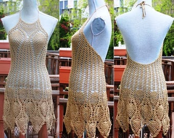 SALE : Crochet Beach Dress / Open Back Cover up / One Of A Kind /Beige color / Size 6/ Ready to Ship