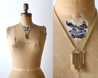 mod 70's gold pendant necklace. art deco style. gold bars. 1970's vintage necklace.
