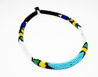 Woven Beaded Round Cord Choker Necklace - Native American Indian - Turquoise Blue, Emerald Green, Lemon Yellow, Royal Blue and Jet Black -
