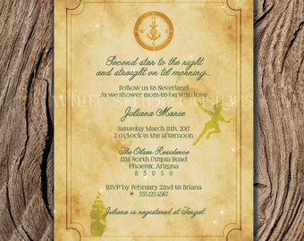 Printable Peter Pan Invitation for Baby Shower or Birthday Party, Neverland Invitation, Pirate Birthday Party 5x7 - Instant Download