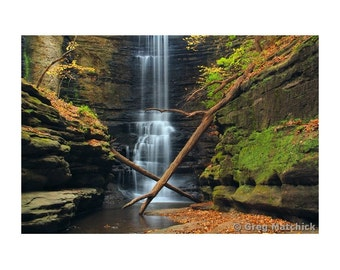"""Fine Art Color Landscape Photography of Waterfall at Matthiessen State Park in Illinois - """"Lake Falls 1"""""""