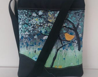 Tote; Large black with Leather and Suede Bird