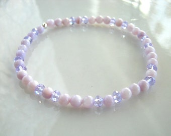 Light Lavender Crystal and Mother of Pearl Stretch Bracelet Lavender Stretch Bracelet Lavender Stacking Bracelet